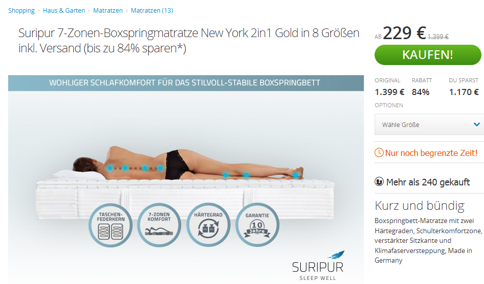 Super Schnappchen Suripur 7 Zonen Boxspringmatratze New York 2in1 Gold